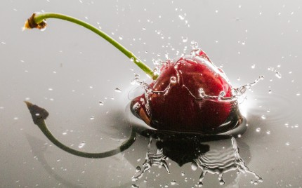 Cherry dropped in Water