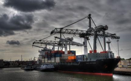 Freight Ship Rotterdam Harbor, Holland