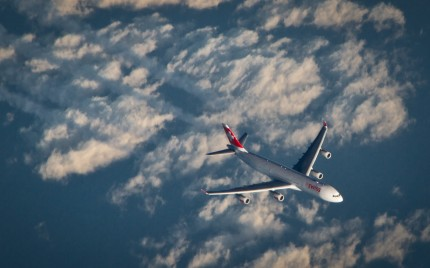 Swiss Flight to Miami over the Atlantic Ocean