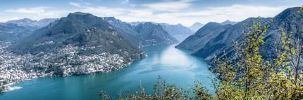 View from Mount San Salvatore to Lake Lugano, Ticino, Switzerland