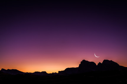 Dolomites - early morning moon rise