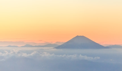 Japan - Mounts Fuji at sunset from plain