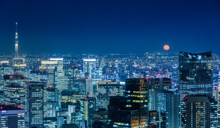 Tokyo - Full Moon view from Mori Tower
